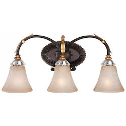 Minka Metropolitan Three Light French Bronze With Gold Leaf Highlights Champagne Scavo Glass
