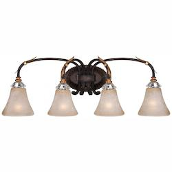 Minka Metropolitan Four Light French Bronze With Gold Leaf Highlights Champagne Scavo Glass