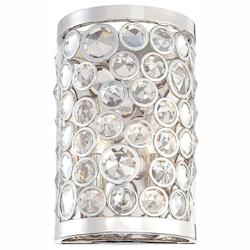 Minka Metropolitan Polished Nickel Clear Crystal Accents Glass Wall Light