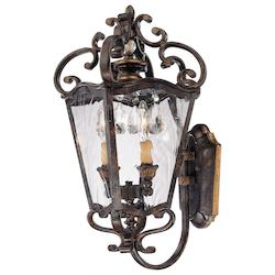 Minka Metropolitan Terraza Villa Aged Patina With Gold Leaf Accents Water Glass Wall Lantern