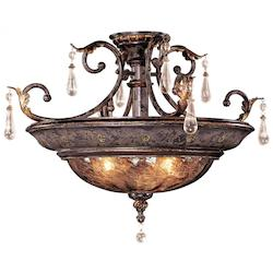 Minka Metropolitan Sanguesa Patina 3 Light Semi-Flush Ceiling Fixture From The Sanguesa Collection