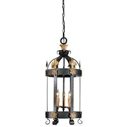 Minka Metropolitan French Black 3 Light Lantern Pendant From The Montparnasse Collection
