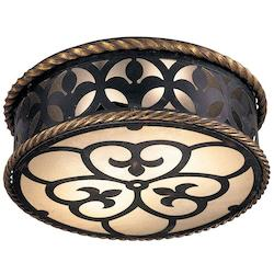 Minka Metropolitan French Black With Gold Highlights Double French Scavo Glass Drum Shade