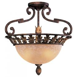 Minka Metropolitan Golden Bronze 3 Light Semi-Flush Ceiling Fixture From The Zaragoza Collection