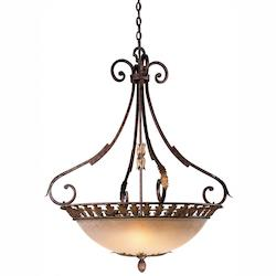 Minka Metropolitan Golden Bronze 5 Light Bowl Shaped Pendant From The Zaragoza Collection