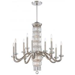 Minka Metropolitan 18 Light Polished Nickel Clear Crystal Accents Glass Up Chandelier