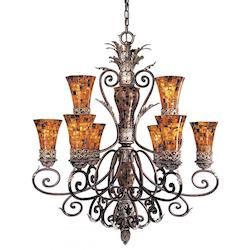 Minka Metropolitan Cattera Bronze 9 Light 2 Tier Chandelier From The Salamanca Collection
