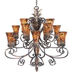 Minka Metropolitan Cattera Bronze 15 Light 3 Tier Chandelier From The Salamanca Collection