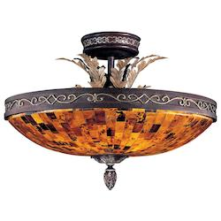 Minka Metropolitan Cattera Bronze 6 Light Semi-Flush Ceiling Fixture From The Salamanca Collection