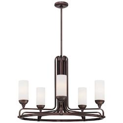 Minka Metropolitan Industrial Bronze 5 Light 1 Tier Chandelier From The Industrial Collection