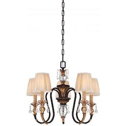Minka Metropolitan Five Light French Bronze With Gold Leaf Highlights Pleated Champagne