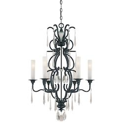 Minka Metropolitan Minka 6 Light Chandelier In Castellina Aged Iron Finish With White Iris Glass