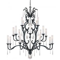 Minka Metropolitan Minka 20 Light Chandelier In Castellina Aged Iron Finish With White Iris Glass