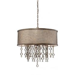 Minka Metropolitan Scavo Glass French Bronze With Jeweled Accents Drum Shade Pendant