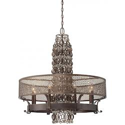 Minka Metropolitan French Bronze Jeweled Accents Glass Up Chandelier