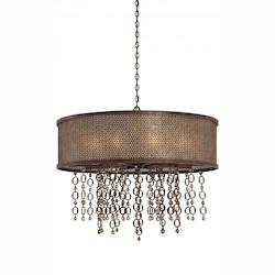 Minka Metropolitan French Bronze 10 Light Drum Pendant From The Ajourer Collection