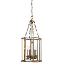 Minka Metropolitan Aged Brass 4 Light Lantern Pendant From The Leicester Collection