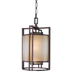 Minka Metropolitan Cimarron Bronze Brushed Caramel Silk Glass Down Pendant