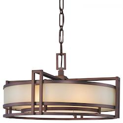 Minka Metropolitan Cimarron Bronze 3 Light Drum Pendant From The Underscore Collection