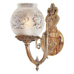Minka Metropolitan Antique Classic Brass Frosted Etched Glass Wall Light