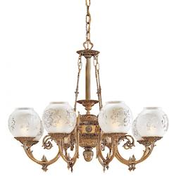 Minka Metropolitan Antique Classic Brass Frosted Etched Glass Up Chandelier