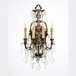 Minka Metropolitan Oxide Bronze Bohemian Crystals Glass Wall Light