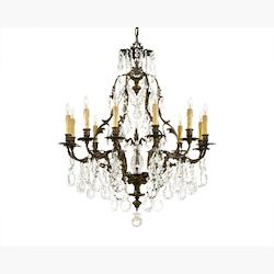 Minka Metropolitan Oxide Bronze Bohemian Crystals Glass Up Chandelier