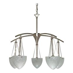 Nuvo South Beach - 5 Light - 25In. - Chandelier - W/ Water Spot Glass