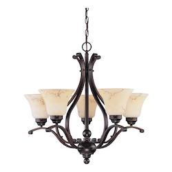 Nuvo Anastasia - 6 Light 24In. Chandelier W/ Honey Marble Glass