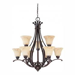 Nuvo Anastasia - 9 Light 2 Tier 34In. Chandelier W/ Honey Marble Glass