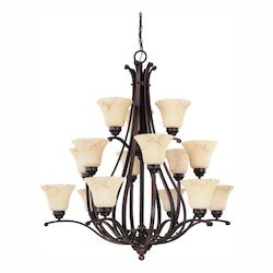 Nuvo Anastasia - 12 Light 3 Tier 38In. Chandelier W/ Honey Marble Glass