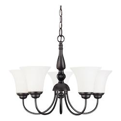Nuvo Dupont - 5 Light 21In. Chandelier  W/ Satin White Glass