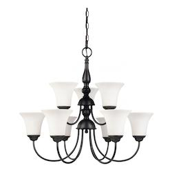 Nuvo Dupont - 9 Light 2 Tier 27In. Chandelier  W/ Satin White Glass