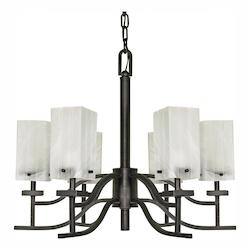Nuvo Cubica - 6 Light - 26In. - Chandelier - W/ Alabaster Glass