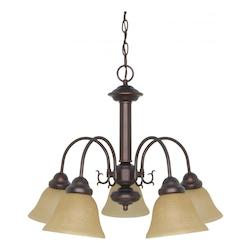 Nuvo Ballerina  5 Light  24In.  Chandelier  W/ Champagne Linen Washed Gla
