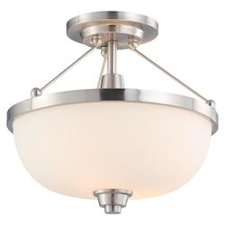 Nuvo Open Box Helium - 2 Light Semi Flush Fixture W/ Satin White Glass