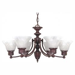 Nuvo Empire - 6 Light - 26In. - Chandelier - W/ Alabaster Glass Bell Shad