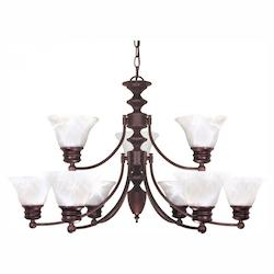 Nuvo Empire - 9 Light - 32In. - Chandelier - W/ Alabaster Glass Bell Shad