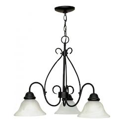 Nuvo Castillo - 3 Light - 26In. - Chandelier - W/ Alabaster Swirl Glass