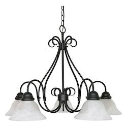 Nuvo Castillo - 5 Light - 28In. - Chandelier - W/ Alabaster Swirl Glass