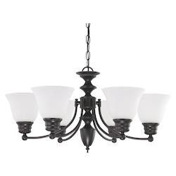 Nuvo Empire - 6 Light  26In.  Chandelier  W/ Frosted White Glass