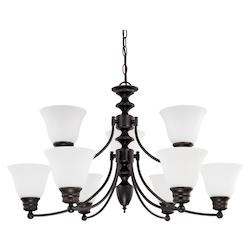 Nuvo Empire - 9 Light  32In.  Chandelier  W/ Frosted White Glass