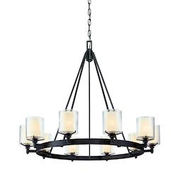 Troy Ten Light French Iron Up Chandelier