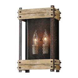 Troy Two Light Rust Wall Light