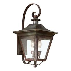 Troy Two Light Natural Rust Wall Lantern