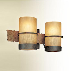 Troy Two Light Bamboo Bronze Vanity