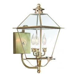 Troy Three Light Natural Aged Brass Wall Lantern