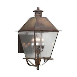Troy Four Light Natural Aged Brass Wall Lantern