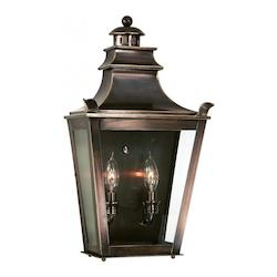 Troy Two Light English Bronze Wall Lantern