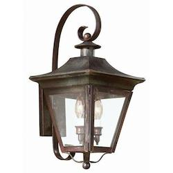 Troy Two Light Charred Iron Wall Lantern